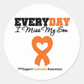 Leukemia Every Day I Miss My Son Round Stickers