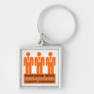 Leukemia Everyone Wins With Awareness Silver-Colored Square Keychain