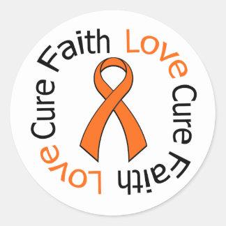 Leukemia Faith Love Cure Classic Round Sticker