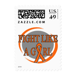 Leukemia Fight Like A Girl Circular Postage