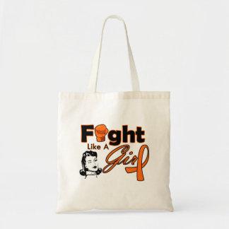 Leukemia Fight Like A Girl - Retro Girl Budget Tote Bag
