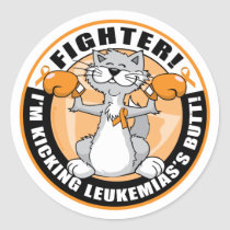 Leukemia Fighter Cat Classic Round Sticker