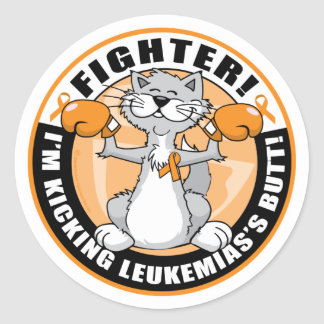 Leukemia Fighter Cat Classic Round Sticker