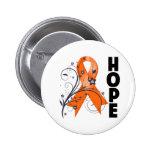 Leukemia Floral Hope Ribbon 2 Pinback Buttons