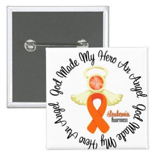 Leukemia God Made My Hero An Angel 2 Inch Square Button