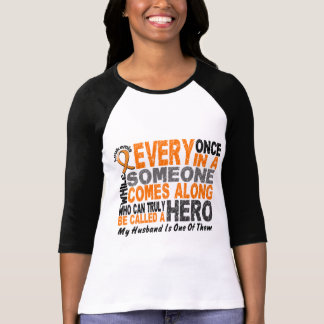 Leukemia HERO COMES ALONG 1 Husband T-Shirt