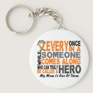 Leukemia HERO COMES ALONG 1 Mom Keychain