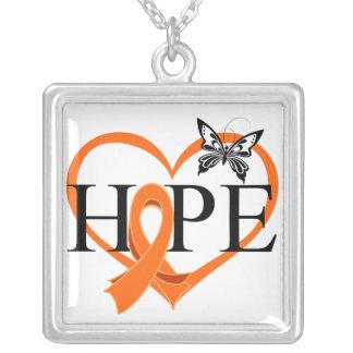 Leukemia Hope Butterfly Heart Décor Square Pendant Necklace