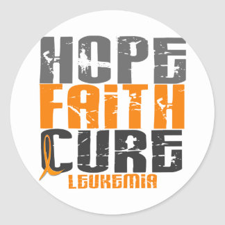 Leukemia HOPE FAITH CURE Classic Round Sticker