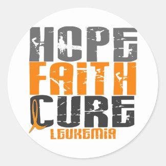 Leukemia HOPE FAITH CURE Classic Round Sticker