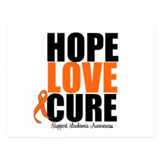 Leukemia Hope Love Cure Postcard