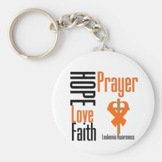 Leukemia Hope Love Faith Prayer Cross Keychain
