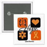 Leukemia Hope Love Inspire Awareness Pinback Button