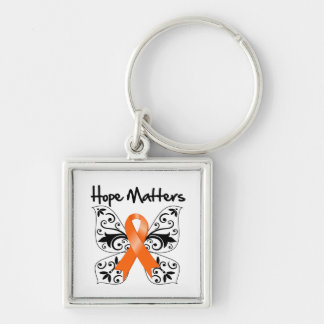 Leukemia Hope Matters Silver-Colored Square Keychain