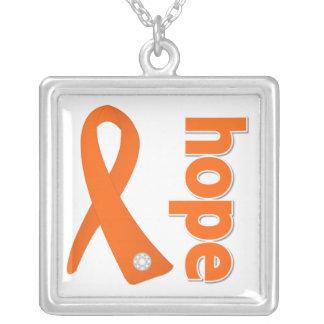Leukemia Hope Orange Ribbon Square Pendant Necklace