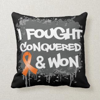 Leukemia I Fought Conquered Won Throw Pillows