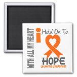Leukemia I Hold On To Hope 2 Inch Square Magnet