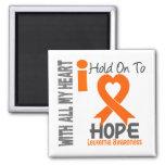 Leukemia I Hold On To Hope 2 Inch Square Magnet