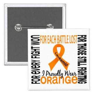 Leukemia I Proudly Wear Orange 2 2 Inch Square Button