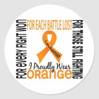 Leukemia I Proudly Wear Orange 2 Classic Round Sticker
