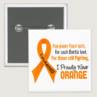 Leukemia I Proudly Wear Orange Pinback Button