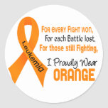 Leukemia I Proudly Wear Orange Round Sticker