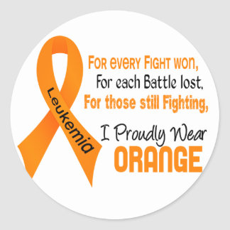 Leukemia I Proudly Wear Orange Round Sticker