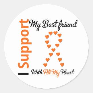 Leukemia I Support My Best Friend Round Stickers