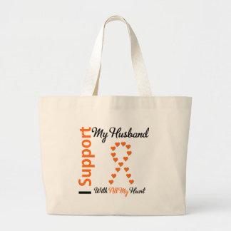 Leukemia I Support My Husband Canvas Bags
