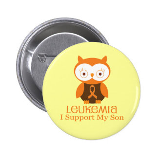Leukemia I Support My Son Owl Awareness Pinback Button