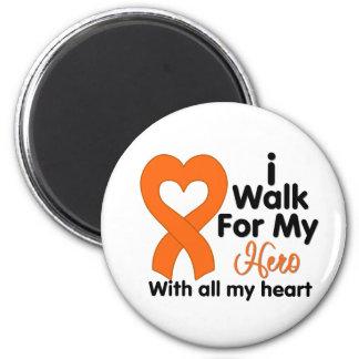 Leukemia I Walk For My Hero 2 Inch Round Magnet