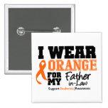 Leukemia I Wear Orange For Father-in-Law 2 Inch Square Button