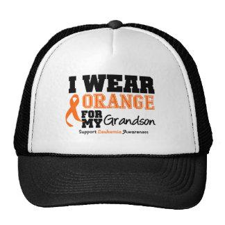 Leukemia I Wear Orange For Grandson Hats