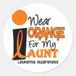 Leukemia I WEAR ORANGE FOR MY AUNT 9 Round Stickers