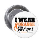 Leukemia I Wear Orange For My Aunt 2 Inch Round Button