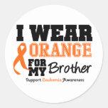 Leukemia I Wear Orange For My Brother Classic Round Sticker
