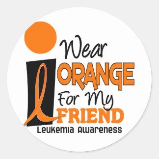 Leukemia I WEAR ORANGE FOR MY FRIEND 9 Round Stickers