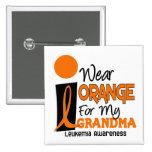 Leukemia I WEAR ORANGE FOR MY GRANDMA 9 2 Inch Square Button