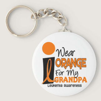Leukemia I WEAR ORANGE FOR MY GRANDPA 9 Keychain