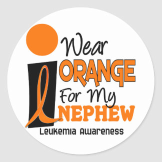 Leukemia I WEAR ORANGE FOR MY NEPHEW 9 Classic Round Sticker