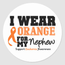 Leukemia I Wear Orange For My Nephew Classic Round Sticker