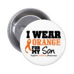 Leukemia I Wear Orange For My Son 2 Inch Round Button