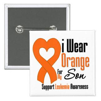 Leukemia I Wear Orange For My Son 2 Inch Square Button