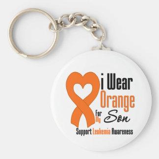 Leukemia I Wear Orange For My Son Basic Round Button Keychain
