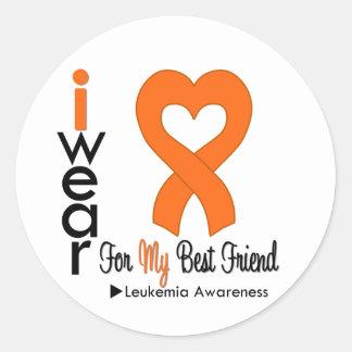 Leukemia I Wear Orange Heart Ribbon BEST FRIEND Round Sticker