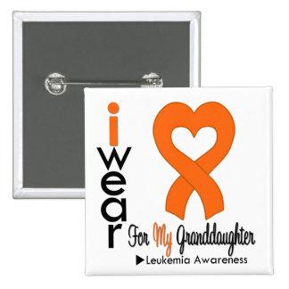Leukemia I Wear Orange Heart Ribbon For My Grandda Pinback Button