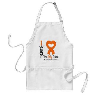 Leukemia I Wear Orange Heart Ribbon For My Hero Adult Apron