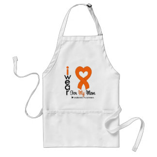 Leukemia I Wear Orange Heart Ribbon For My Mom Adult Apron