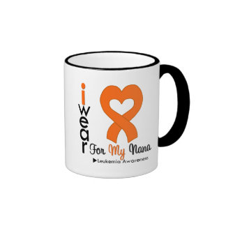Leukemia I Wear Orange Heart Ribbon For My Nana Coffee Mugs