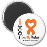 Leukemia I Wear Orange Heart Ribbon For My Nephew Magnet